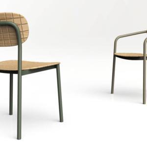 """La nuova collezione Meneghello Paolelli Associati di Emu comprende la sedia in alluminio su cui sono sistemati la seduta e lo schienale in """"tessuto  ligneo"""", un materiale di nuova generazione, ottenuto grazie ad una tecnologia inedita. www.emu.it"""