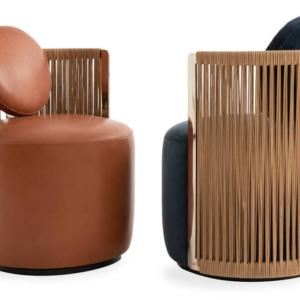 La poltrona Thea di Fendi Casa by Luxury Living Group, ha un iconico schienale in cuoio intrecciato che ne sottolinea la forma circolare e avvolgente; la seduta è rivestita in pelle o in tessuto. I profili sono in acciaio curvato finitura canna di fucile; la base, dotata di un innovativo sistema girevole, è in legno laccato nero opaco. Misura L 56 x P 57 x H 83 cm. www.luxurylivinggroup.com