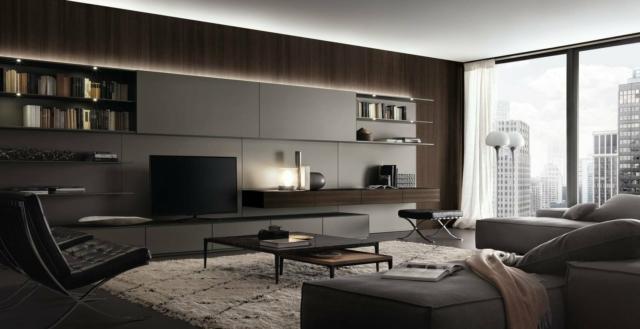soggiorno con mobile parete Rimadesio_Abacus-living