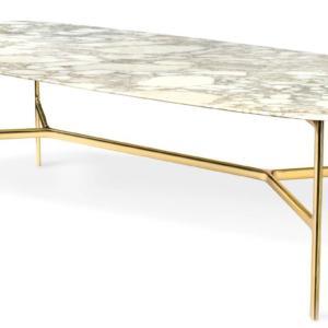 Coast di Ghidini1961, design Branch Creative, è il tavolo che ha un'esile e raffinata struttura di sostegno in ottone; il piano rettangolare in pregiato marmo bianco ha gli spigoli arrotondati. Misura L 240 x P 110 x H 76 cm. www.ghidini1961.com