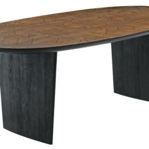 Patchword di Roche Bobois, design Raphael Navot, è il grande tavolo reso unico dal piano composto da una moltitudine di elementi in legno assemblati come un puzzle. Le gambe con una forma scultorea sono realizzate in legno massiccio tinto nero. È disponibile in dimensioni diverse. Misura L 180/220/280 x P 108 x H 75 cm. www.roche-bobois.com