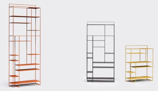 La libreria Levia di Ronda Design ha un design minimalista, quasi astratto, che la rende leggera e versatile. L'esile struttura in metallo verniciato è disponibile in diverse varianti di colore. I ripiani asimmetrici danno vita a una composizione sorprendente; è disponibile in tre misure (bassa, media e alta). Misura L 90x P 32 x H 120/200/250 cm. www.rondadesign.it