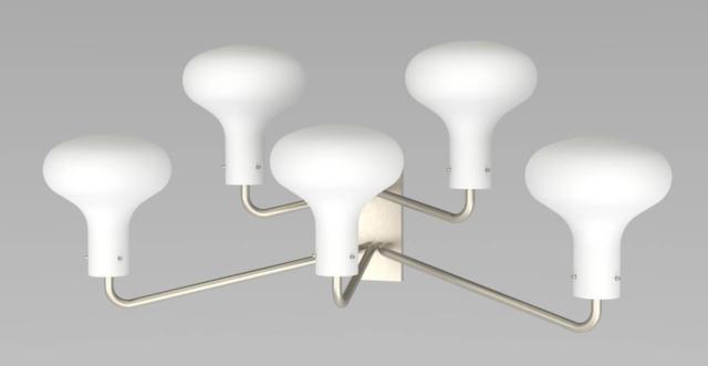 L'applique Galleria di Tato, Ignazio Gardella 1958, è caratterizzata dai bracci in ottone piegati con un paralume in vetro soffiato bianco opalino satinato all'estremità. È disponibile nelle varianti da uno a cinque lumi. Misura L 120 x P 45 x H 53 cm. www.tatoitalia.com
