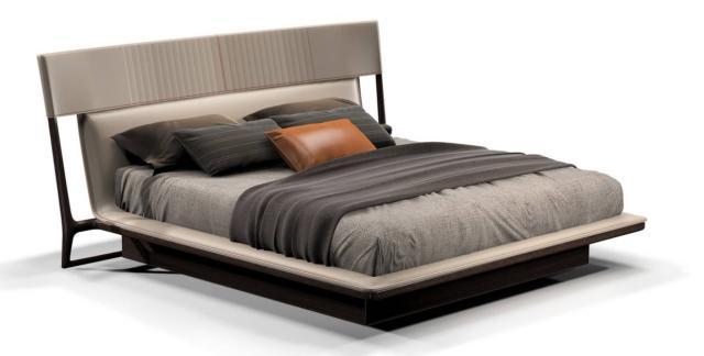 Fa parte della collezione Vine di Turri, design Frank Jiang, il letto che ha un'alta testata rivestita  in pelle chiara con cuciture in contrasto; la struttura è in legno scuro. www.turri.it