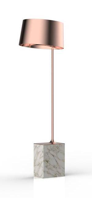 La lampada da terra Flamenco di Zava, design Meneghello Paolelli, ha una base a parallelepipedo proposta nele varianti marmo, legno, ferro o cemento, su cui si innesta la voluminosa plafoniera in metallo disponibile in numerose varianti di colore. www.zavaluce.it