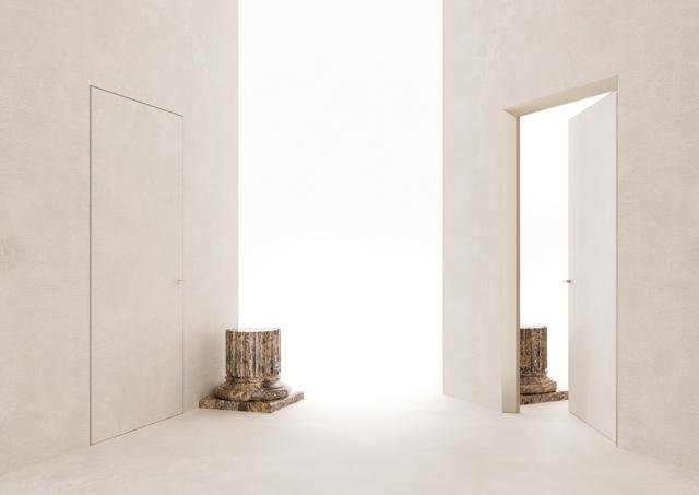 La particolarità di ECLISSE 40 è quella di creare un'originale superficie inclinata di 40 gradi da un lato e una porta filo muro dall'altro.