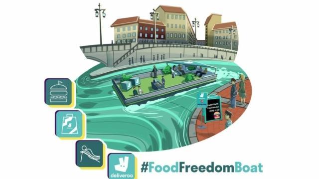 La special Food Freedom Boat di Deliveroo sarà collocata nei pressi della Darsena giovedì 11 e venerdì 12 aprile. Uno spazio allestito con sedute affacciate sull'acqua. Ogni tour dura 40 minuti e ne sono previsti 3 al giorno a partire dalle 12.30. Si può prenotare sul posto presso l'imbarcadero dedicato (ingresso da Via Gorizia e Via D'Annunzio all'altezza di Via Ronzoni).