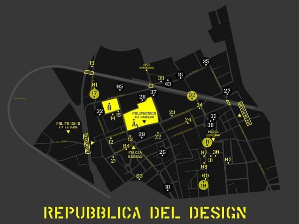 Mappa del distretto La Repubblica del Design con gli eventi in programma per il Fuorisalone 2019.