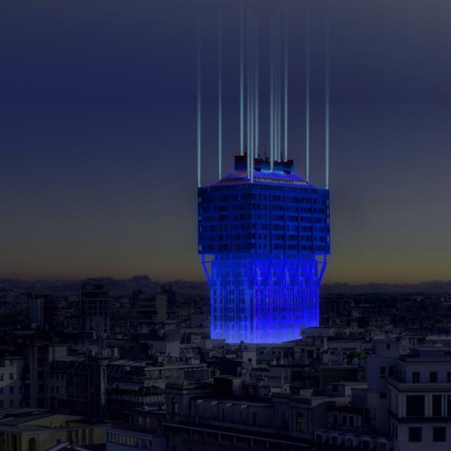 L'installazione luminosa di Torre Velasca di Ingo Maurer e Axel Schmid, prodotta da Urban Up - Unipol Projects Cities del Gruppo Unipol, proprietario dell'edificio.Parte della mostra Human Spaces.