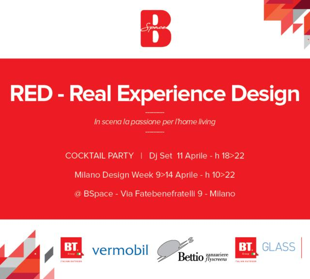 "Esposizione ""Red - Real Experience Design"" di BT Group presso showroom BSpace in Via Fatebenefratelli 9."