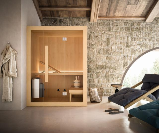 Sauna finlandese Hoshi finitura Hemlock naturale dim.150x110 cm