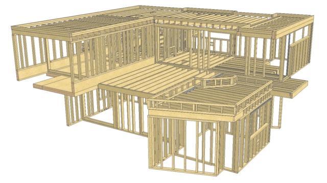 Disegno di una casa in legno con sistema a telaio progettata per essere costruita a Bellusco (www.variohaus.it)