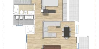 Pianta trilocale: progetto per ricavare un bagno e una camera in più.