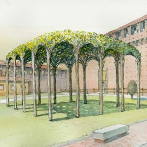 Pergolato dei gelsi ambientato nel cortile principale del Castello Sforzesco