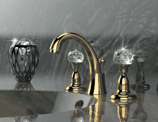 Rubinetto a tre fori con manopole cristallo Daniel Rubinetterie Crystal