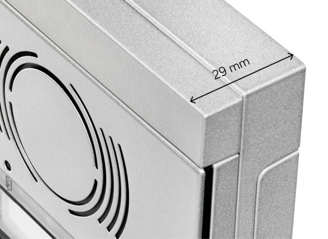 Alpha, nella versione da appoggio parete è la più sottile sul mercato tra le pulsantiere modulari.