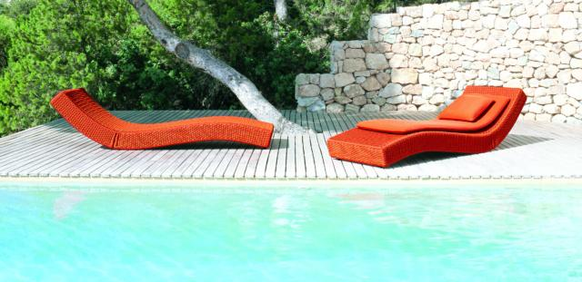 paola lenti WAVE_ chaise longue per esterno
