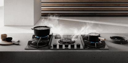 Novità in cucina: piano aspirante a gas e piano a induzione con bilancia integrata