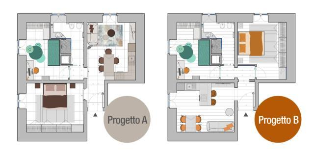 Progetto in pianta: una stanza in più e la finestra per il bagno cieco
