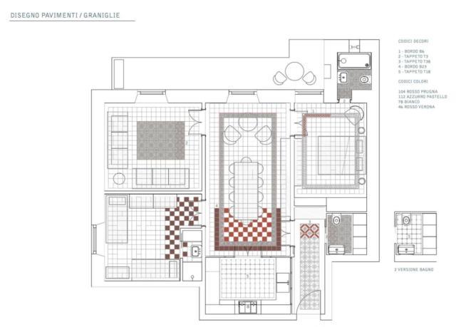 Pianta appartamento con disegno schema posa pavimento in graniglia