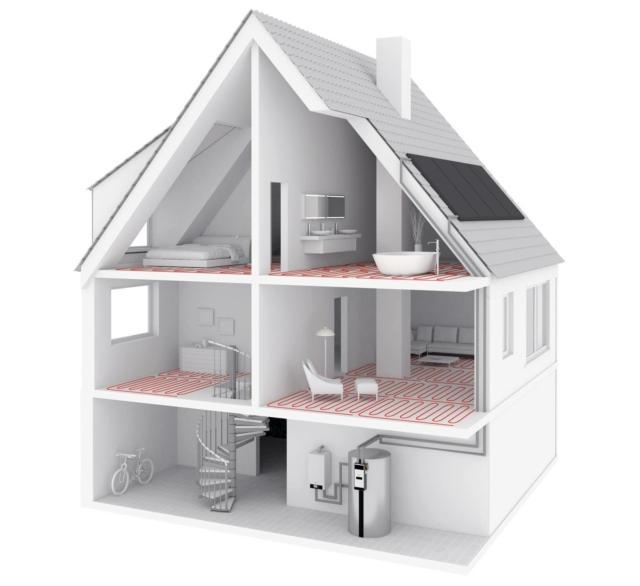 L'impianto di riscaldamento a pavimento collegato ad una caldaia a condensazione, a una pompa di calore oppure a una caldaia a legna o pellet consente di ridurre i costi energetici fino al 25%