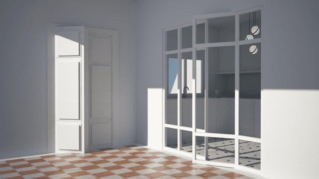 vista render tra sala e cucina