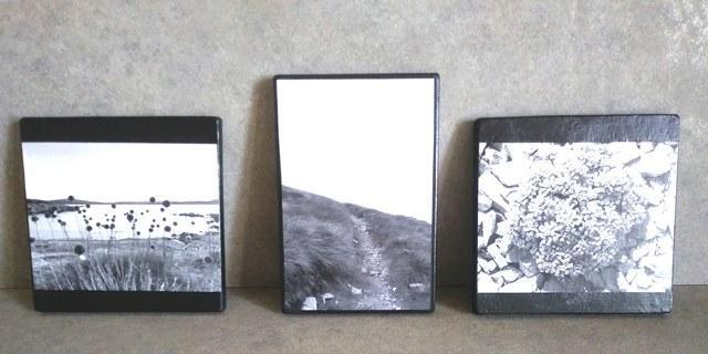Portafoto di legno con tavolette di recupero