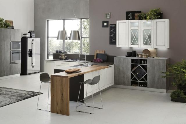 Eva+Loft Wall di Arrex cucina-grigia con-finiture-diverse