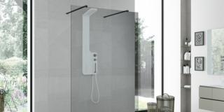 Box doccia: grandi lastre, profili minimi