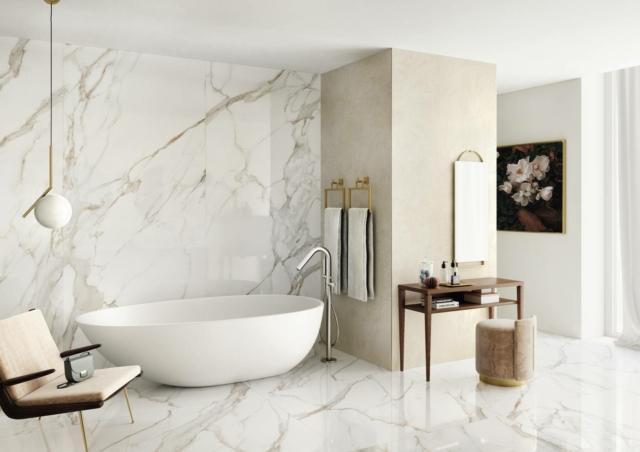 calacatta gold limestone bagno