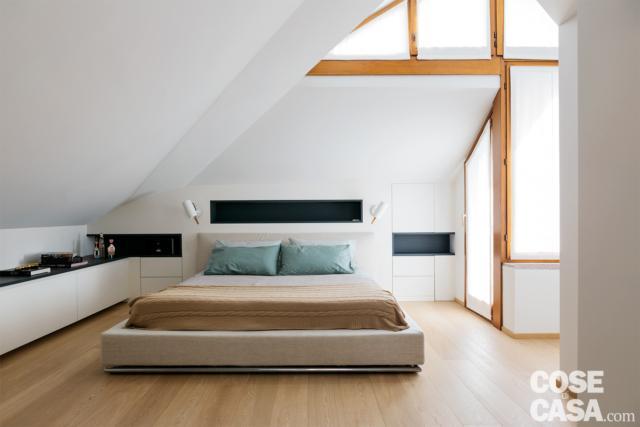 camera da letto al piano superiore nel sottotetto di 125 mq