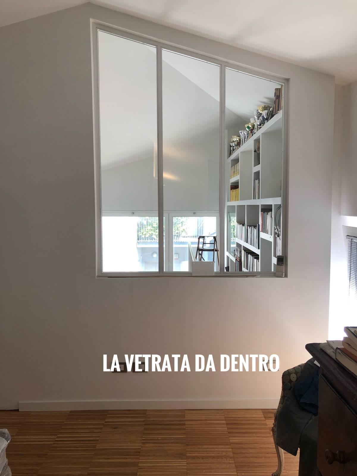 Libreria Cartongesso E Vetro sfruttare l'altezza con libreria in cartongesso e passerella