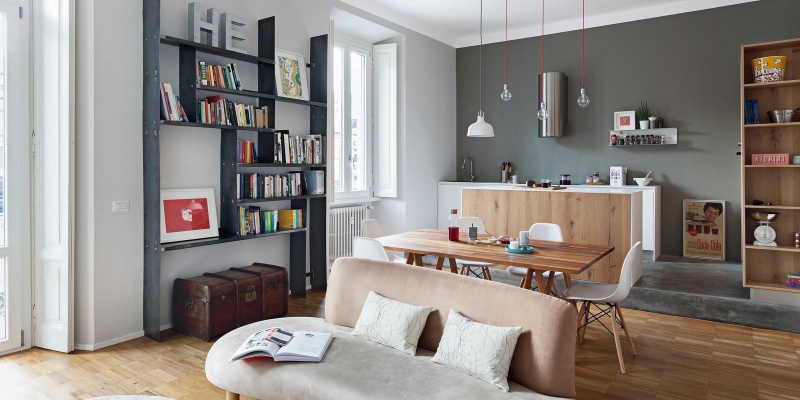 Abitazione da single 63 mq con un blocco multifunzione for Idee interni casa