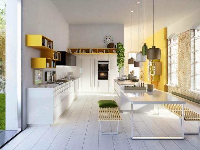 snaidero A61_Code cucina con pensili colorati