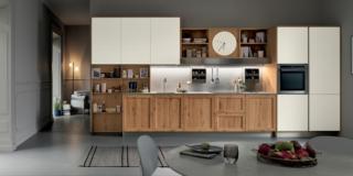 cucina in legno venetaCucine_MilanoRovereNodosoChiaro&BiancoBicocca