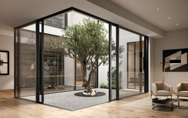 SCHUCO_progetto villa toscana_Living con cavedio