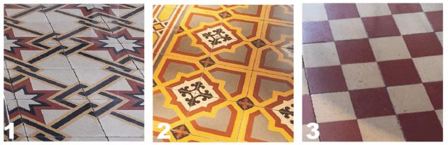 """1. In camera la composizione geometrica è a tre colori su fondo bianco. Gli stessi disegni, allora di produzione, si ritrovano in molti appartamenti milanesi anni '30 in zona Porta Venezia. 2. Nel corridoio il decoro geometrico-floreale punta sulle tonalità vivaci del giallo e dell'arancione, intervallate dal grigio. Il motivo si compone accostando quattro piastrelle 20 x 20 cm. 3. In cucina la """"scacchiera"""" di cementine è formata da piastrelle 20 x 20 cm, ciascuna decorata con quattro quadrati a colori che alternano bianco e mattone. È prevista una doppia cornice lineare lungo il perimetro della stanza."""