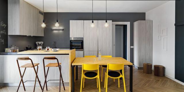 Nuovo miniappartamento eco: 55 mq in giallo e blu