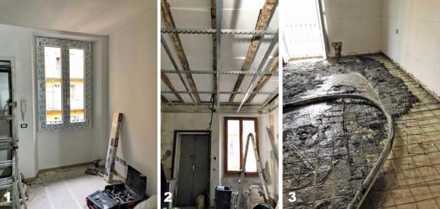 bilocale mini, lavori in corso, tre fasi della ristrutturazione, serramenti, controsoffitti, pavimenti