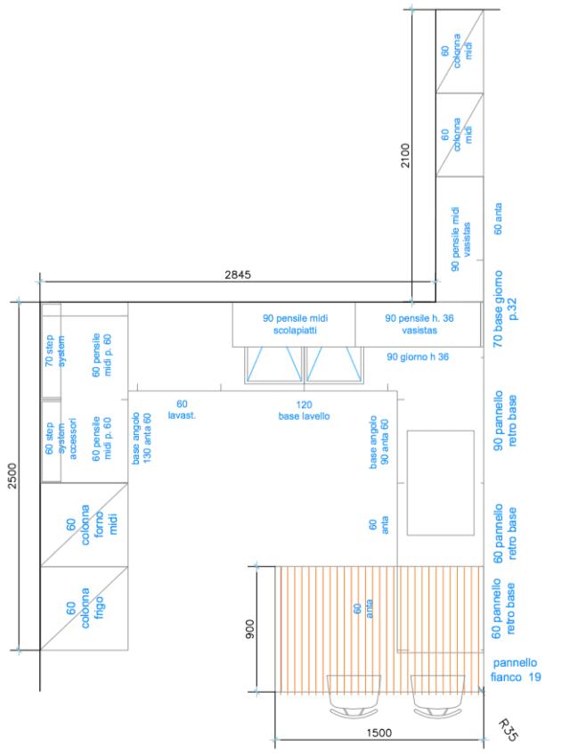 pianta progettare la cucina, modello CARRERA F1 di cucina veneta