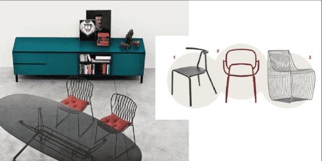 tavolo ovale in ferro e vetro e sedie da abbinare