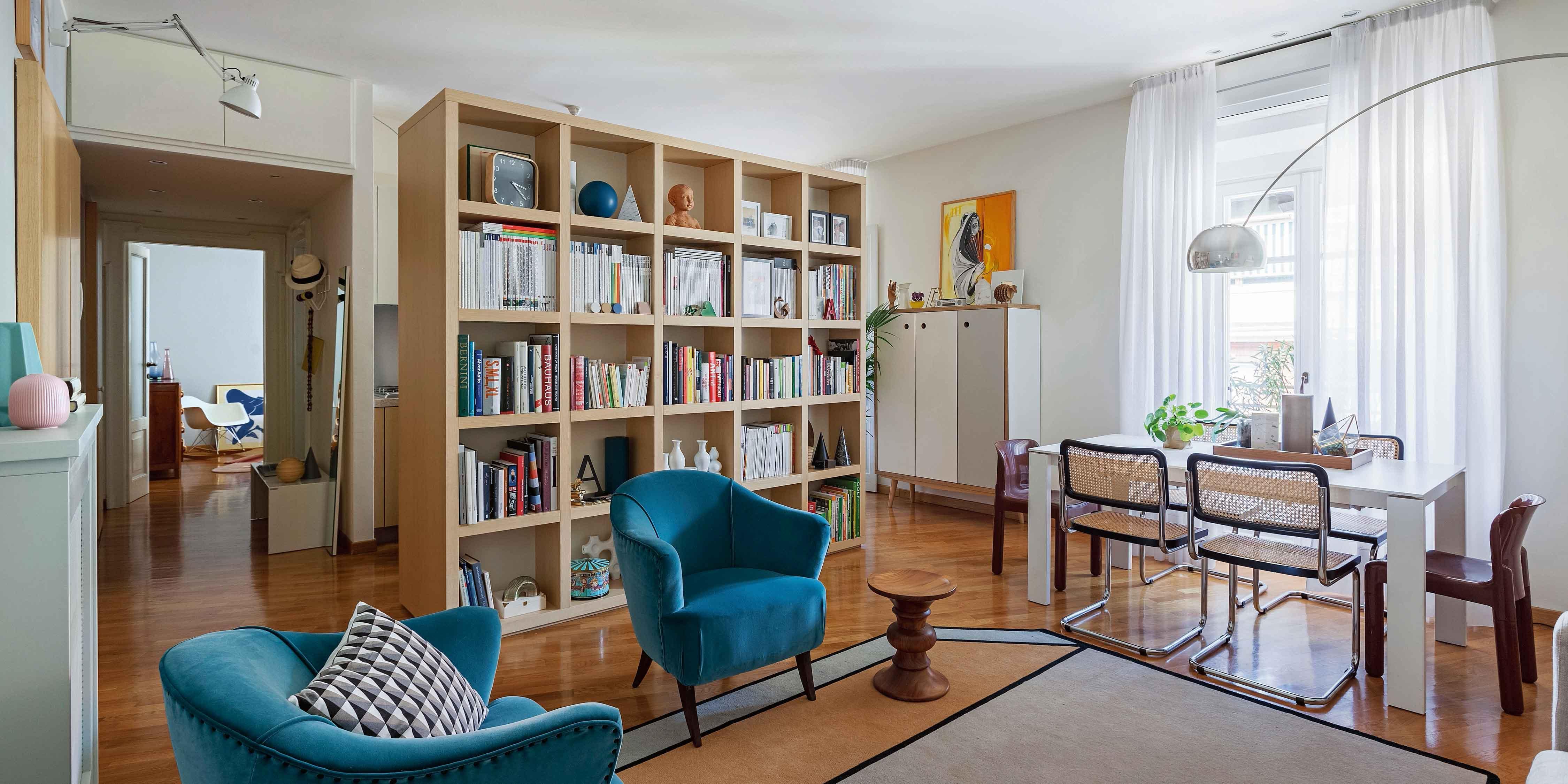 Libreria Scorrevole Fai Da Te open space di 65 mq con libreria che separa - cose di casa