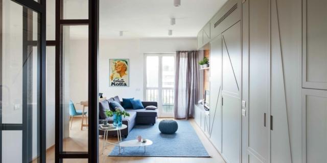 Una casa di 105 mq ripensata con mobili che dividono