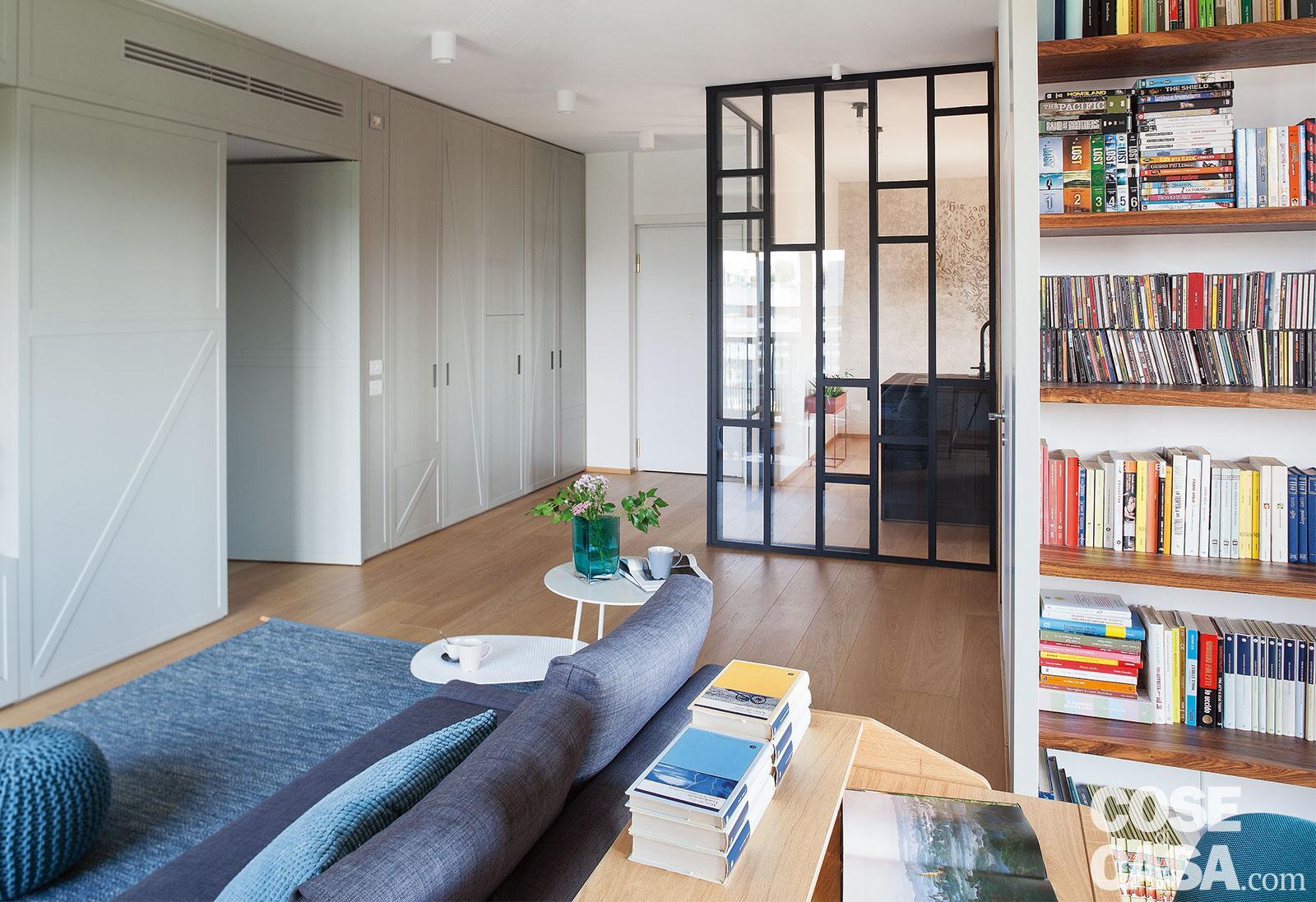 Mobili Da Soggiorno Bianchi casa di 105 mq ripensata con mobili che dividono, progetto