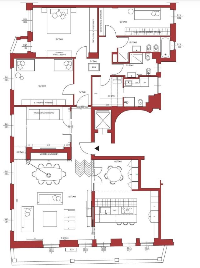 Pianta appartamento 160 mq