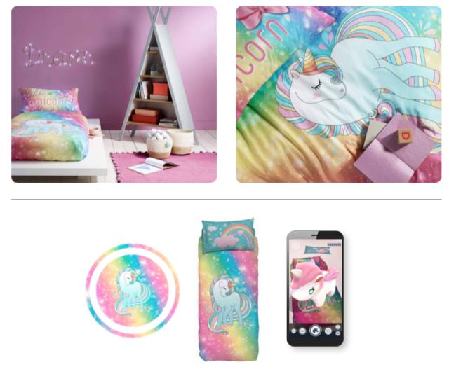 LUCKY CHARM, l'unicorno 3D, vola, cambia colore, esprime gioia e fa la nanna.