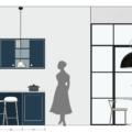 progetto cucina con isola e vetrate