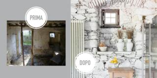 parete prima e doopo i lavori in pietra a vista sbiancata