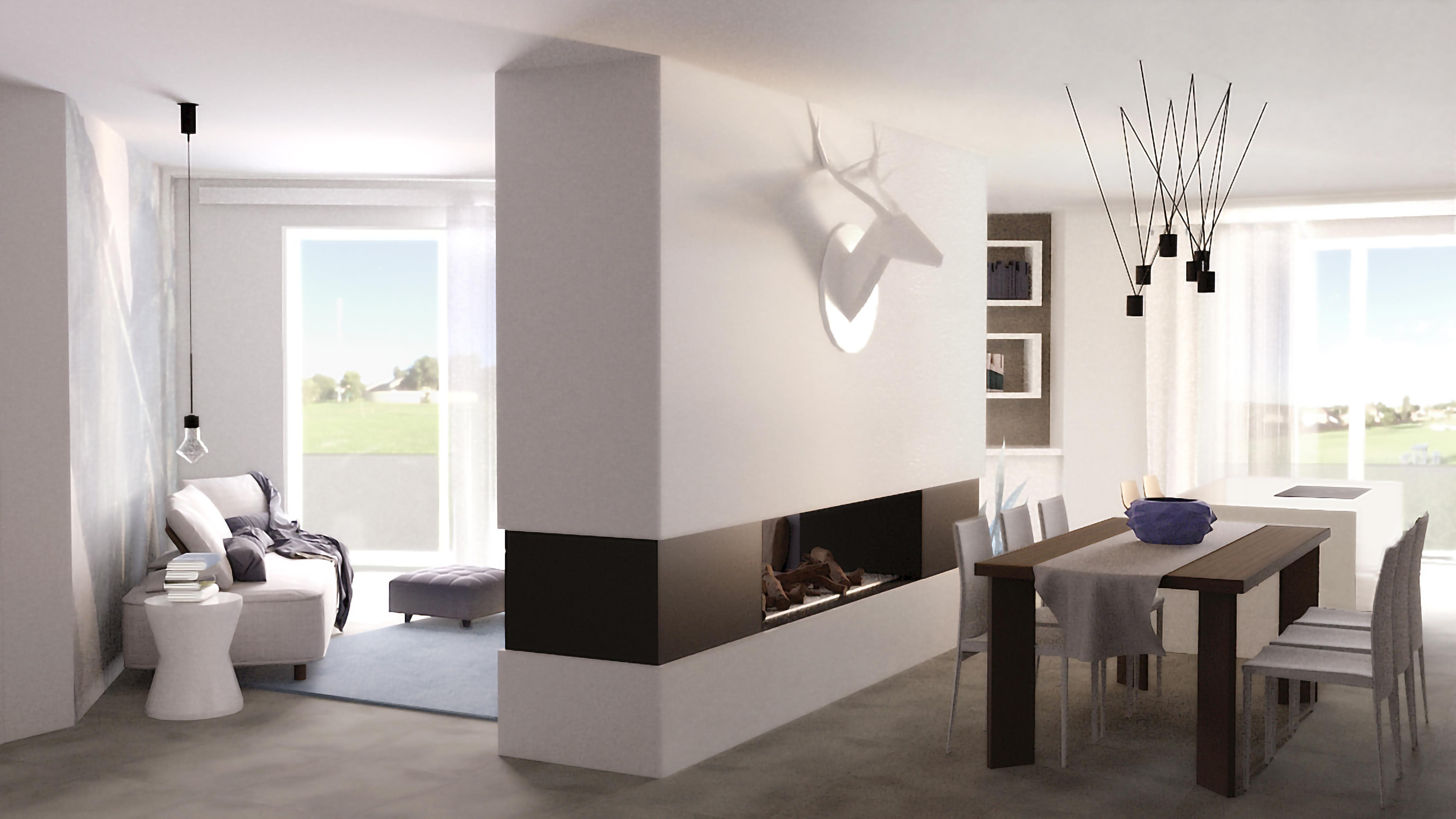 Piante Da Appartamento 3d.Progetto 3d Per Una Zona Giorno Con Pianta Irregolare E Pilastro