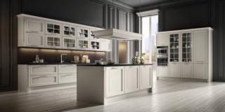 cucina stosa dolcevita bianco isola cappa bianca orizzontale decorazione classica